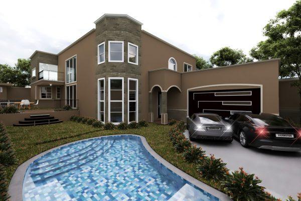 Planos de casa campestre de dos pisos con piscina