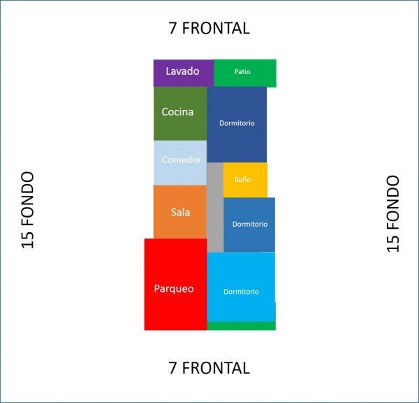 Casa minimalista 7x15 de un nivel