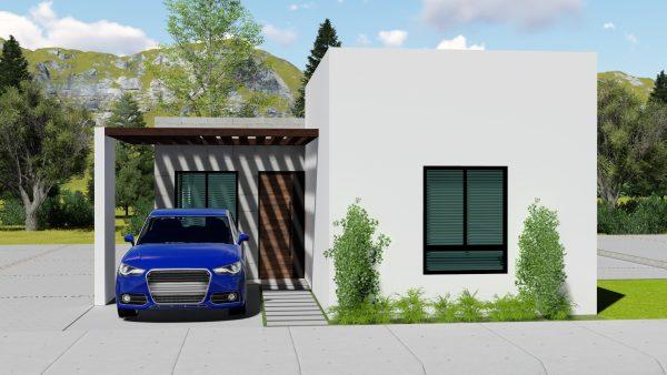 Diseño de casa 7x15 con 3 dormitorios