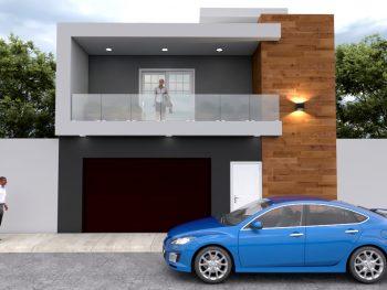 Planos de Casa Moderna 8 X 16 metros de dos